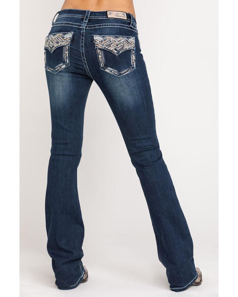 Grace in LA Women's Dark Wash Bootcut Chevron Jeans , Blue, hi-res