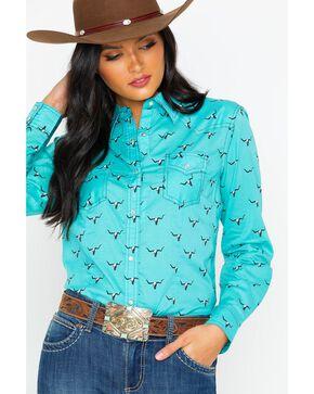 Wrangler Women's All Over Steer Head Print Long Sleeve Western Shirt, Aqua, hi-res