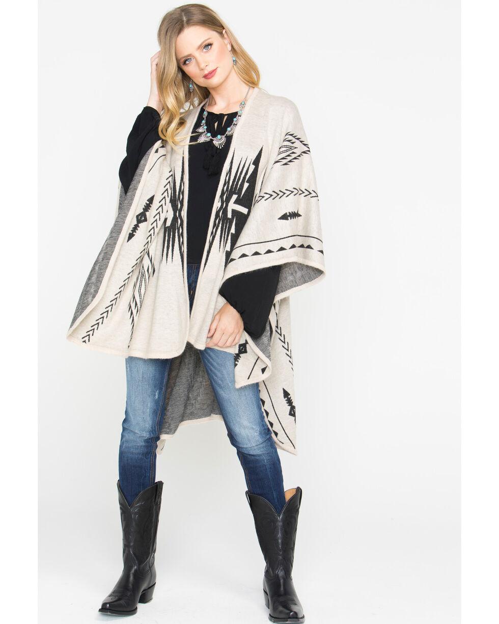 Shyanne Women's Aztec Cream Blanket Scarf, Cream, hi-res