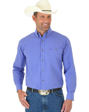 George Strait by Wrangler Men's Purple Long Sleeve Western Shirt - Big & Tall, Purple, hi-res