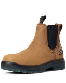 Ariat Men's Turbo Chelsea Waterproof Work Boots - Soft Toe, Brown, hi-res