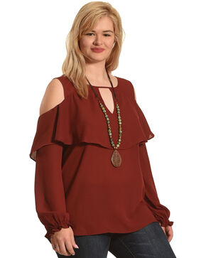 Stony Women's Red Cold Shoulder Blouse - Plus Size , Purple, hi-res