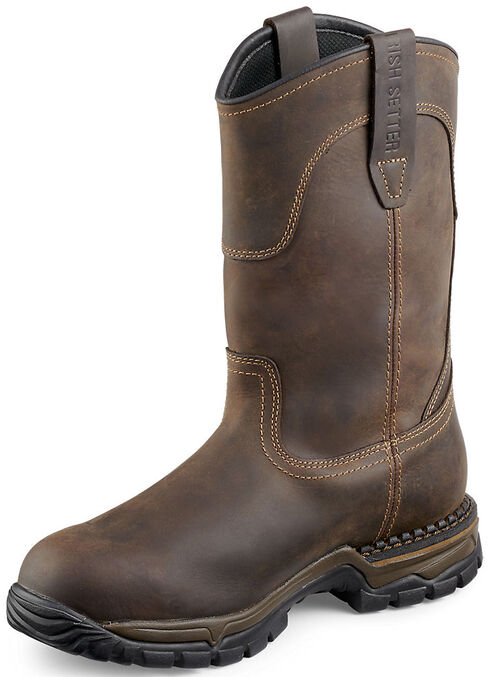 Red Wing Irish Setter Two Harbors Pull-On Work Boots - Steel Toe , Brown, hi-res