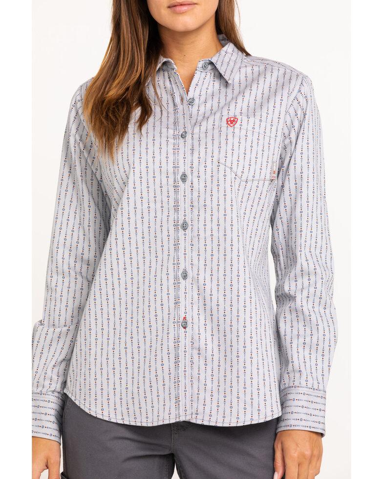 Ariat Women's Quartz FR Long Sleeve Work Shirt , Blue, hi-res