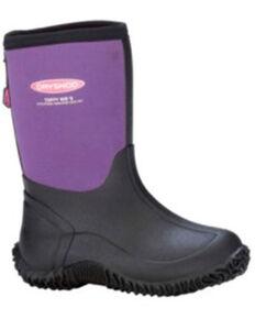 Dryshod Girls' Tuffy Rubber Boots - Soft Toe, Black/purple, hi-res