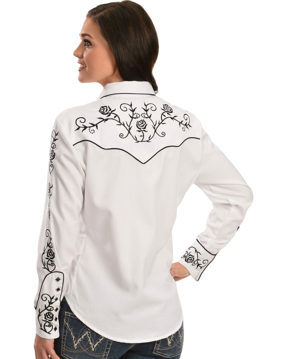 Scully -  Floral Embroidered Retro Western Shirt, , hi-res
