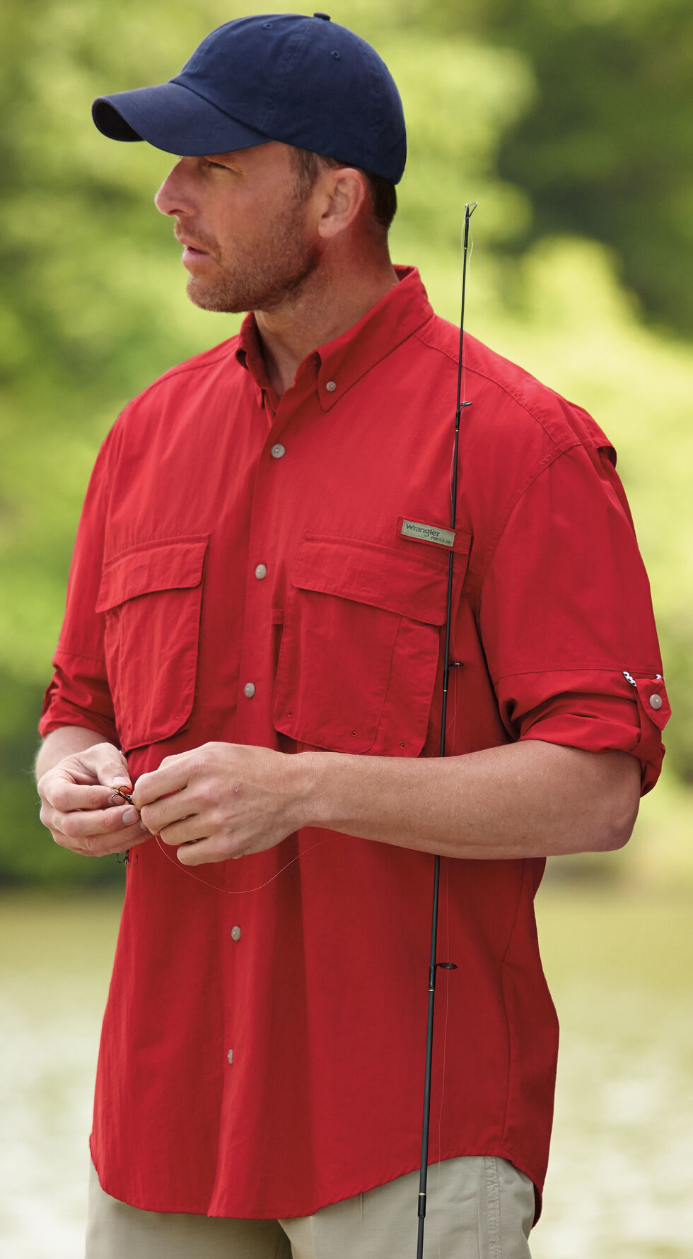 Wrangler Men's ProGear® Long Sleeve Angler Shirt, Red, hi-res