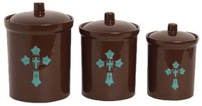 HiEnd Accents Cross Canister Set, Brown, hi-res