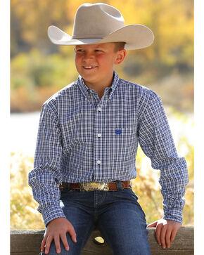 Cinch Boys' Blue Plaid Long Sleeve Button Down Shirt, Blue, hi-res