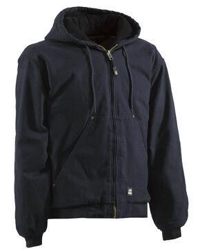 Berne Original Washed Hooded Jacket - Quilt Lined, Midnight, hi-res