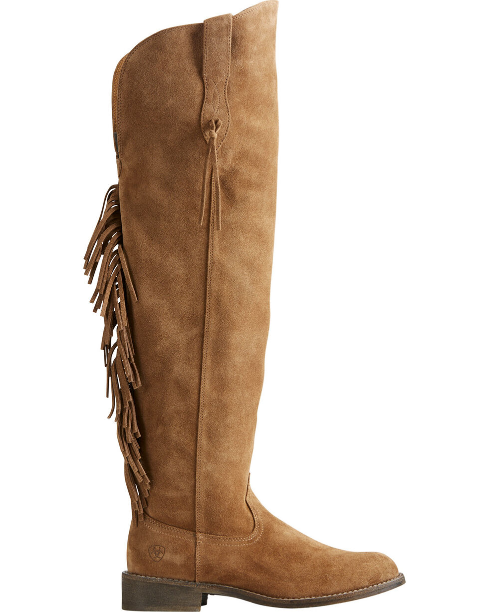 Ariat Women's Tan Farrah Fringe Boots - Round Toe , Tan, hi-res