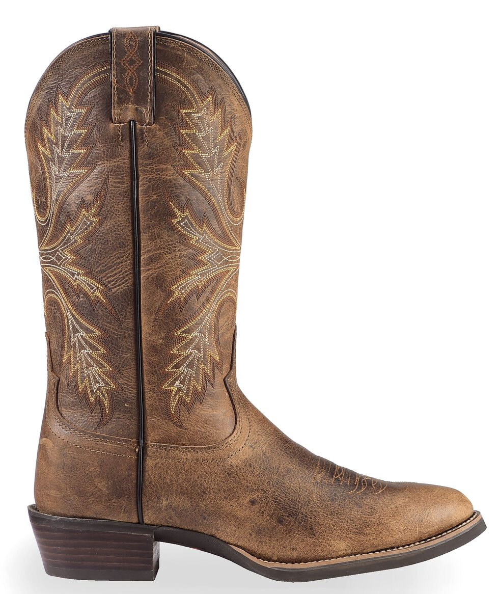 Justin Men's Silver Antique Buffalo Cowboy Boots - Medium Toe, Antique Brown, hi-res