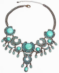 Shyanne Women's Patina Crescent Horseshoe Turquoise Statement Necklace, Turquoise, hi-res