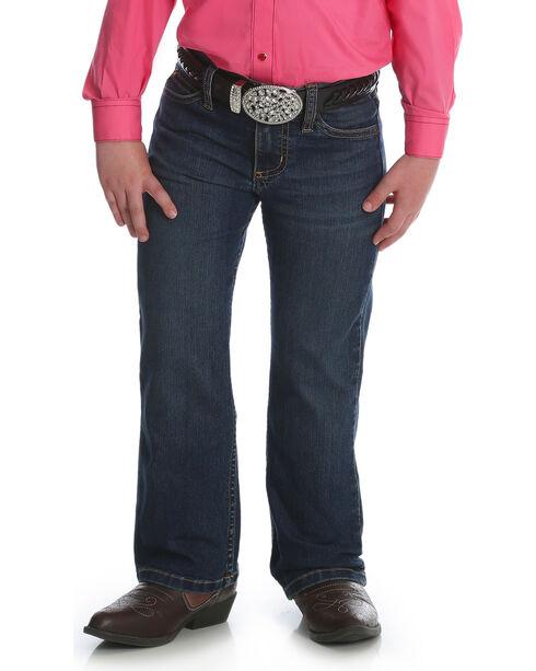 Wrangler Girls' Premium Patch Boot Cut Jean (7-14), Blue, hi-res