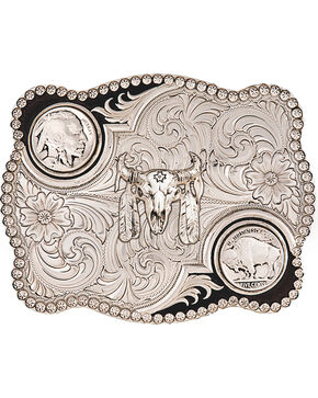 Montana Silversmiths Antiqued Buffalo Nickel and Skull Buckle, Silver, hi-res