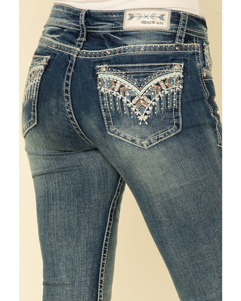 Grace in LA Women's V Embroidered Bootcut Jeans , Blue, hi-res