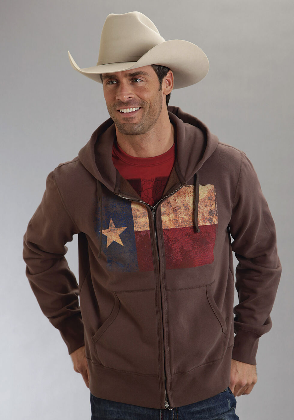 Roper Americana Collection Zip Front Hooded Sweatshirt, Brown, hi-res
