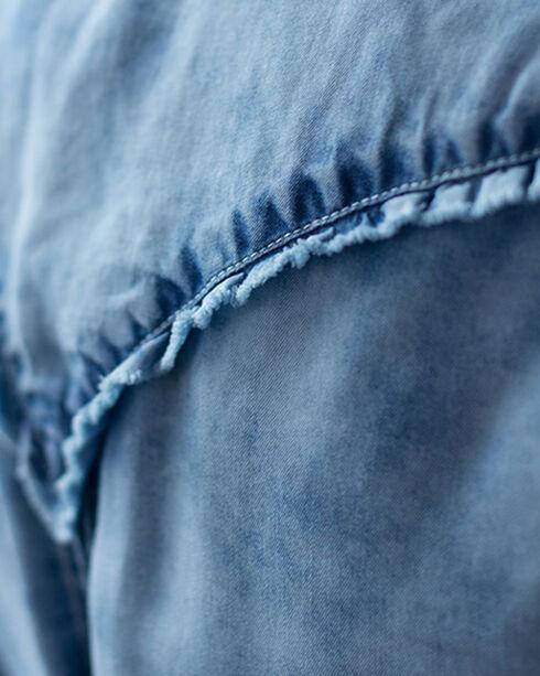 Ryan Michael Women's Tencel Ruffle Indigo Shirt, Indigo, hi-res