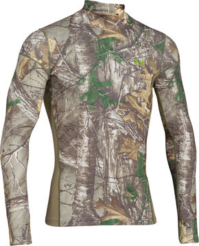 Under Armour Men's ColdGear Infrared Scent Control Camo Mock Top, Camouflage, hi-res
