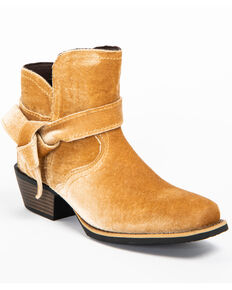 Justin Gypsy Women's Elana Tan Velvet Booties - Wide Square Toe, Tan, hi-res