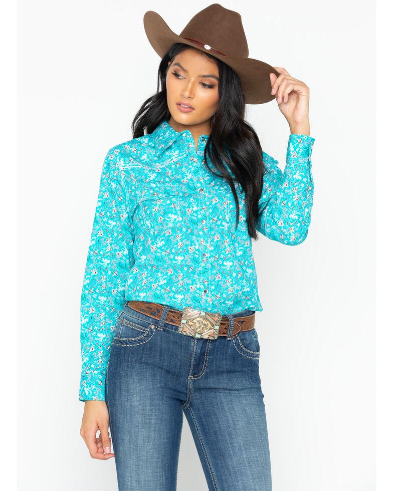 fb19210b028ebf Zoomed Image Cowgirl Hardware Women's Aqua Country Floral Western Shirt,  Aqua, hi-res