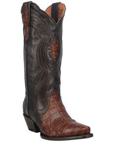 Dan Post Women's Chocolate Exotic Caiman Belly Western Boots - Snip Toe, Chocolate, hi-res