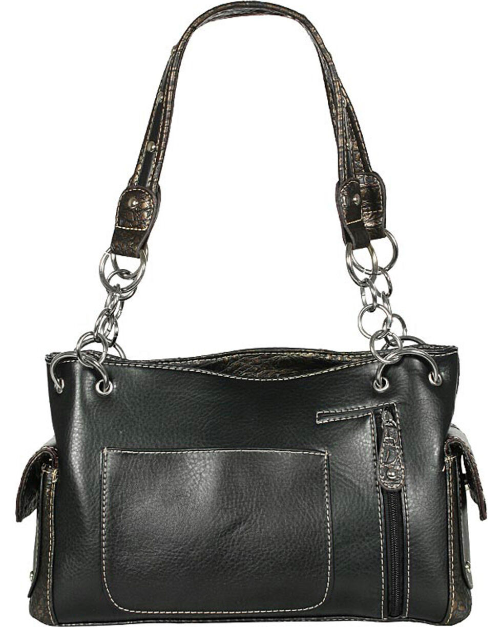 Savana Women's Faux Leather And Gator Concealed Carry Handbag, Black, hi-res