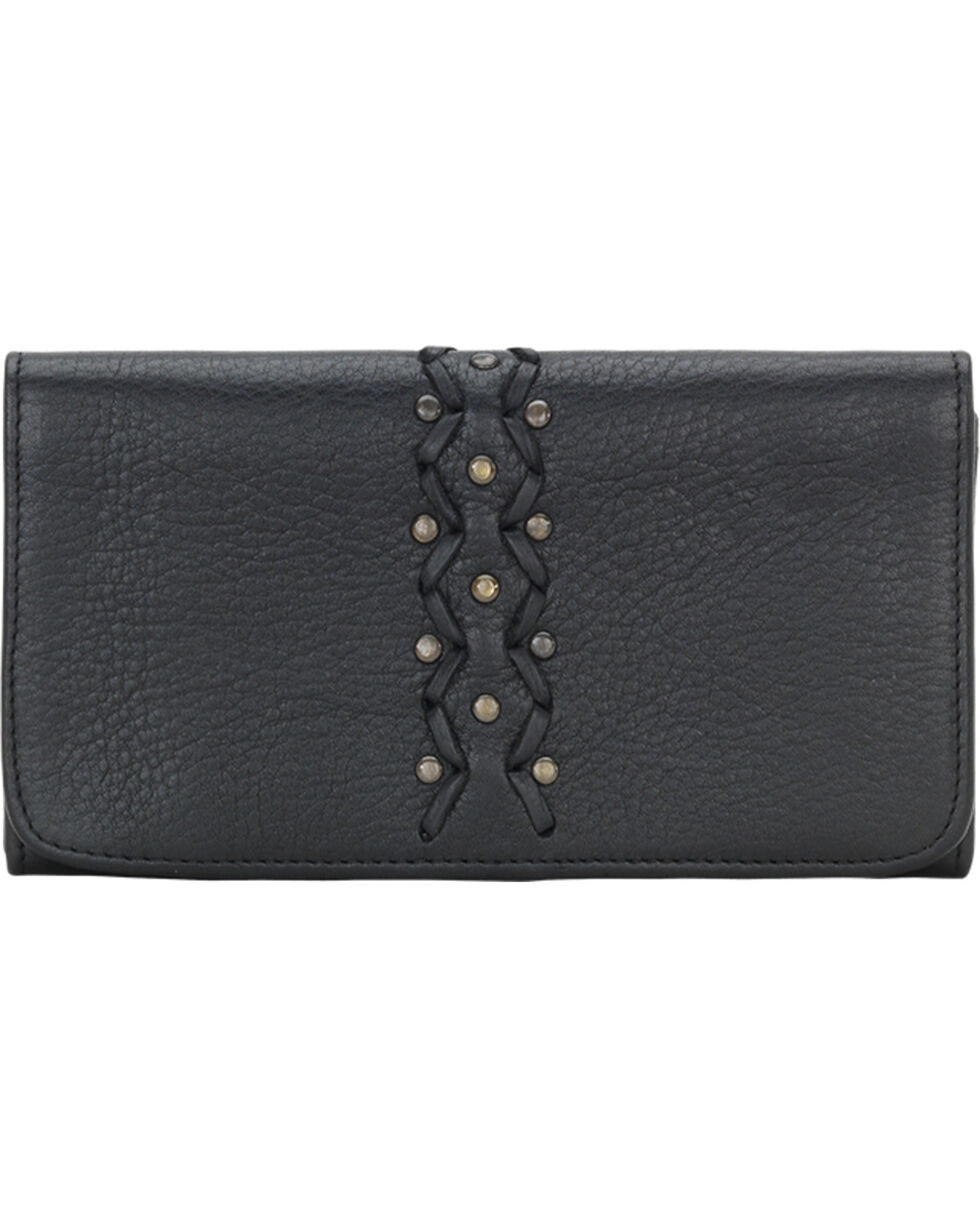 TrueLu Women's Black Leather Emily Wallet , Black, hi-res