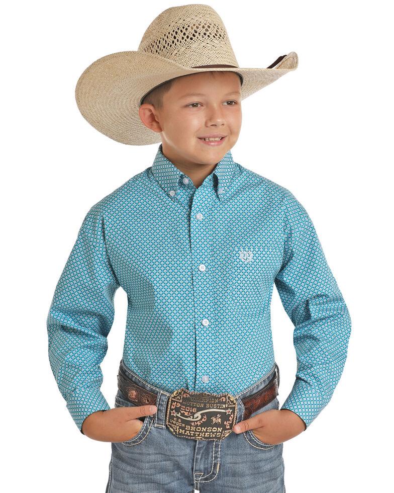 Panhandle Select Boys' Blue Brushed Geo Print Long Sleeve Western Shirt , Turquoise, hi-res