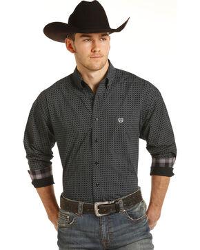 Panhandle Men's Black Peached Print Western Shirt , Black, hi-res