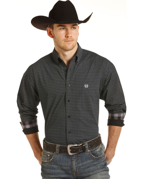 Panhandle Men's Black Peached Print Western Shirt , Black, hi-res