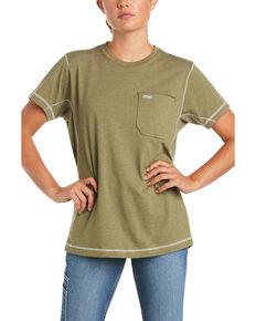 Ariat Women's Camo Rebar Workman Back Flag Graphic Short Sleeve Work Pocket T-Shirt , Sage, hi-res