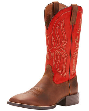 Ariat Men's Sport Hustler Western Boots - Square Toe, Brown, hi-res