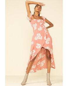 Wrangler Women's Blush Floral Smocked Off Shoulder Maxi Dress, Blush, hi-res