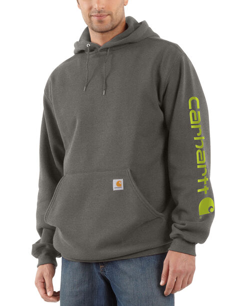 Carhartt Logo Hooded Sweatshirt, Charcoal, hi-res
