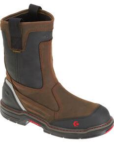 "Wolverine Men's Overman 10"" Wellington Work Boots - Composite Toe, Black/brown, hi-res"