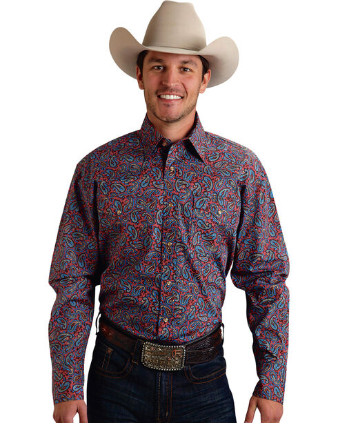 Roper Men's Amarillo Collection Navy & Red Paisley Snap Long Sleeve Shirt, , hi-res