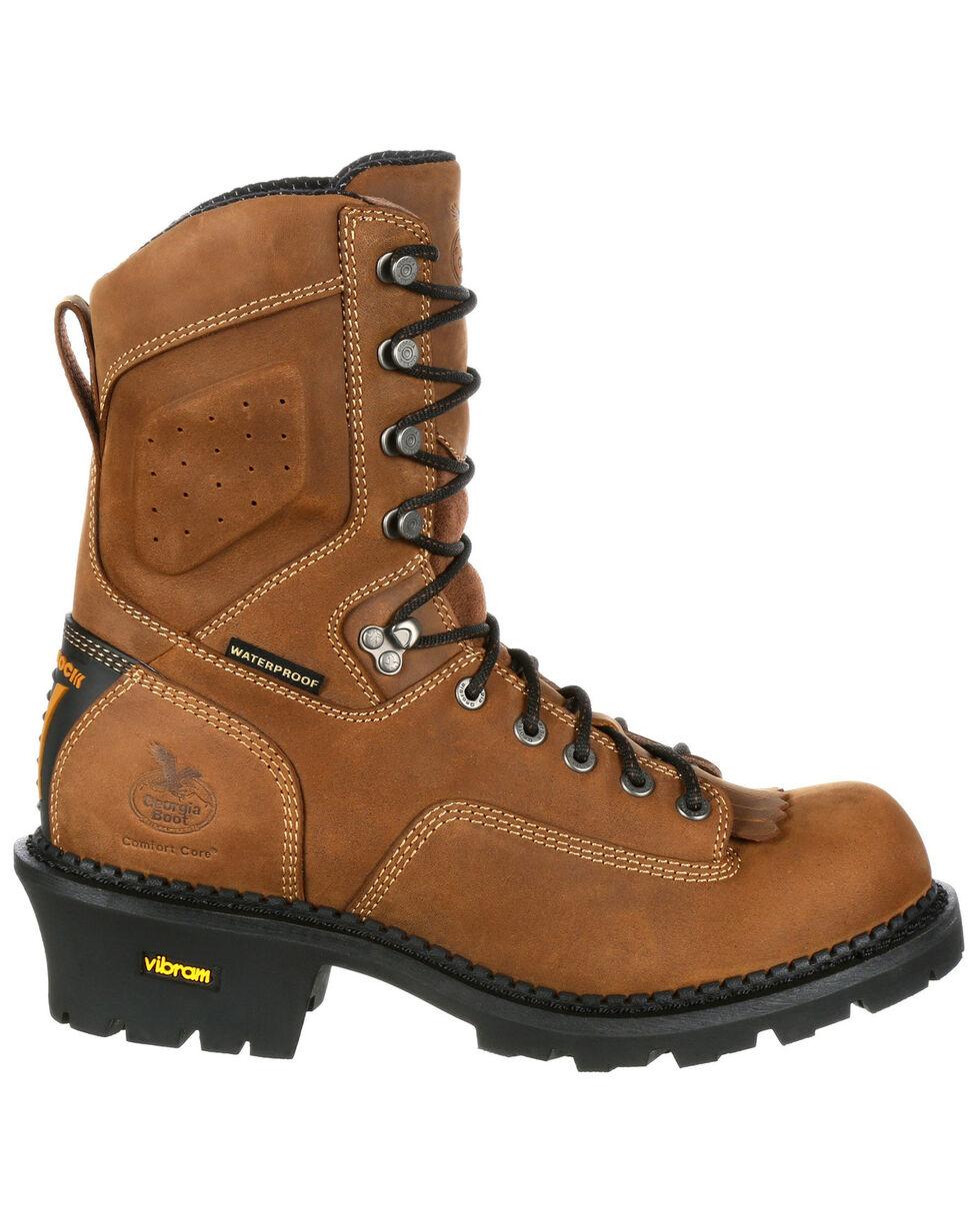 Georgia Boot Men's Waterproof Logger Work Boots - Round Toe, Brown, hi-res