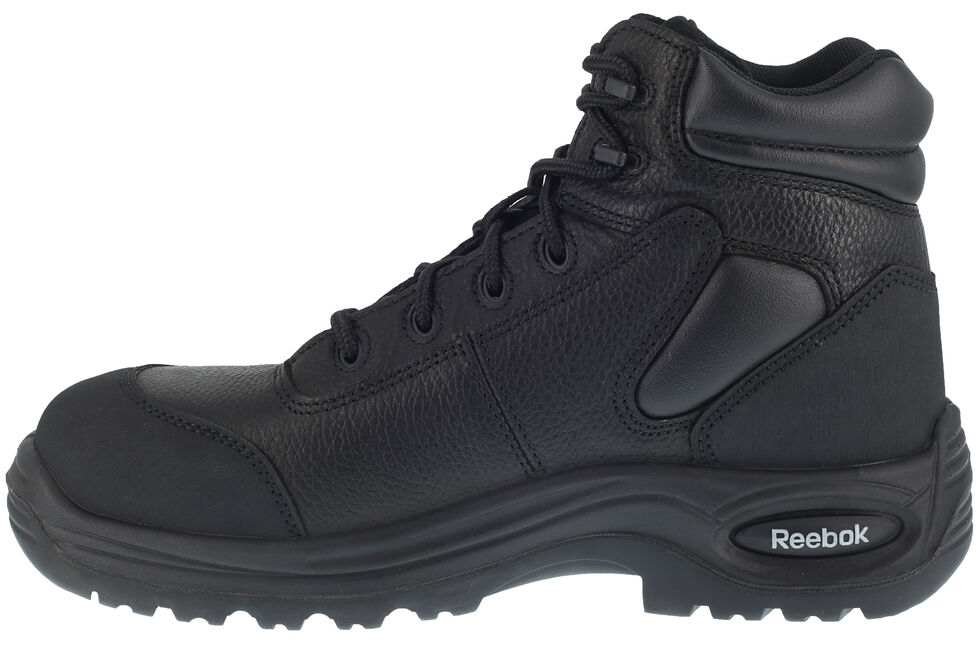 "Reebok Men's Trainex 6"" Lace-Up Waterproof Work Boots - Composite Toe, Black, hi-res"