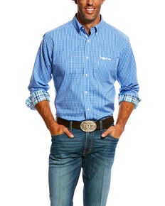 Ariat Men's Sharp Small Plaid Long Sleeve Western Shirt , Blue, hi-res