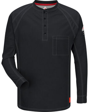 Bulwark Men's Black iQ Series Flame Resistant Henley Shirt - Big & Tall, Black, hi-res