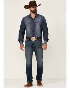 Cinch Men's Jessie Medium Stonewash Performance Stretch Slim Straight Jeans , Indigo, hi-res