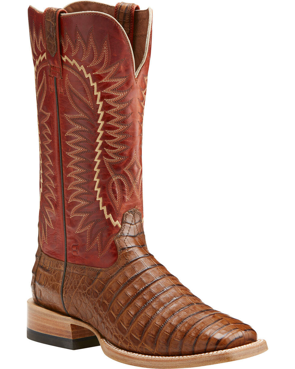 Ariat Men's Gold Buckle Caiman Western Boots - Square Toe , Brown, hi-res