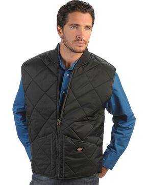 Dickies Diamond Quilted Nylon Work Vest, Black, hi-res