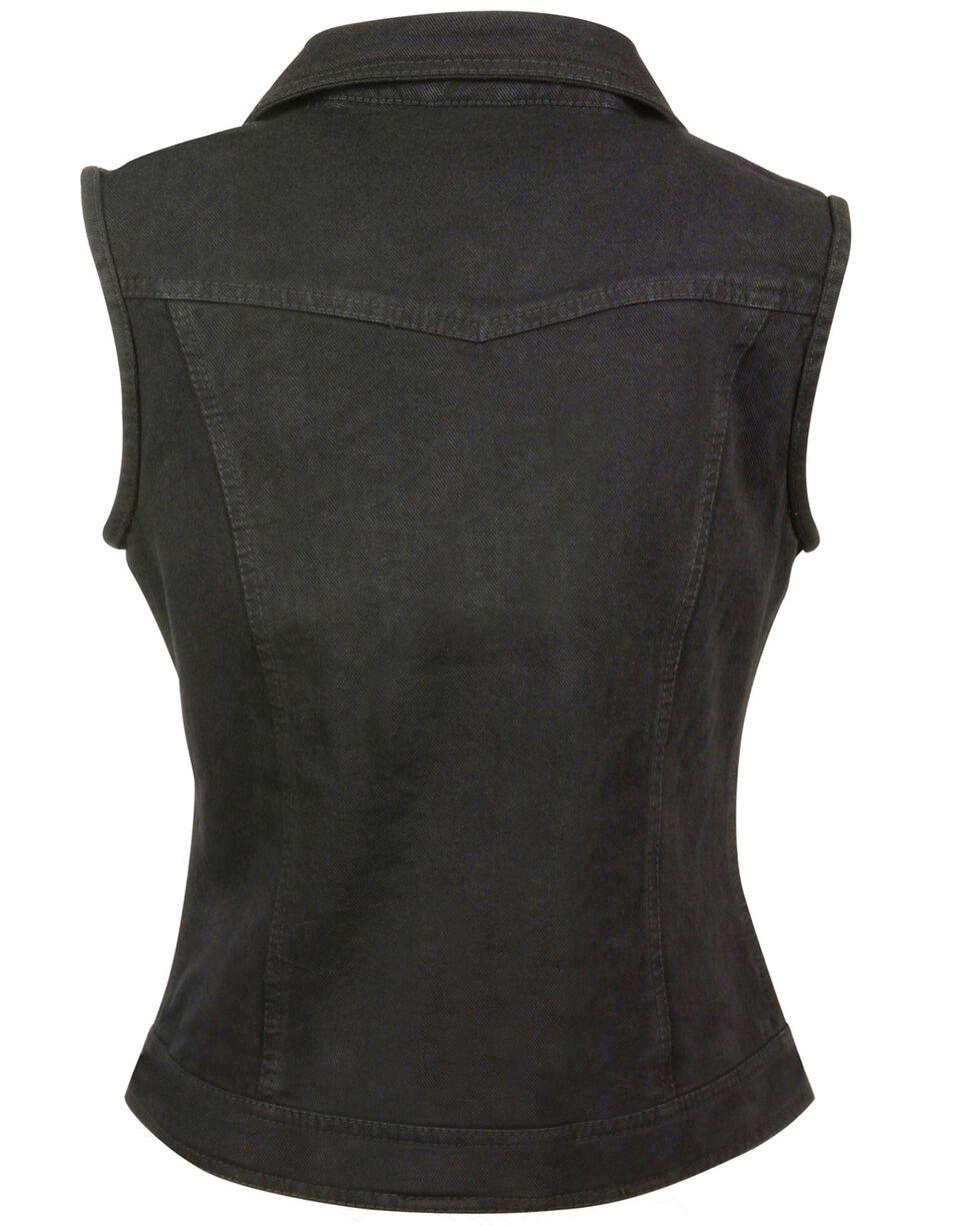 Milwaukee Leather Women's Studded Zip Front Denim Vest, Black, hi-res