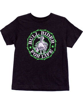 Cowboy Hardware Boy's Bull Rider Short Sleeve Tee, Grey, hi-res