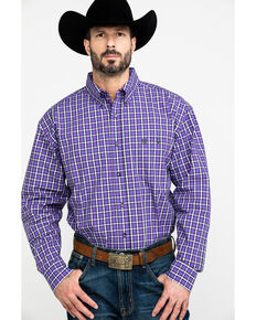 George Strait By Wrangler Men's Multi Plaid Long Sleeve Western Shirt , Black/purple, hi-res