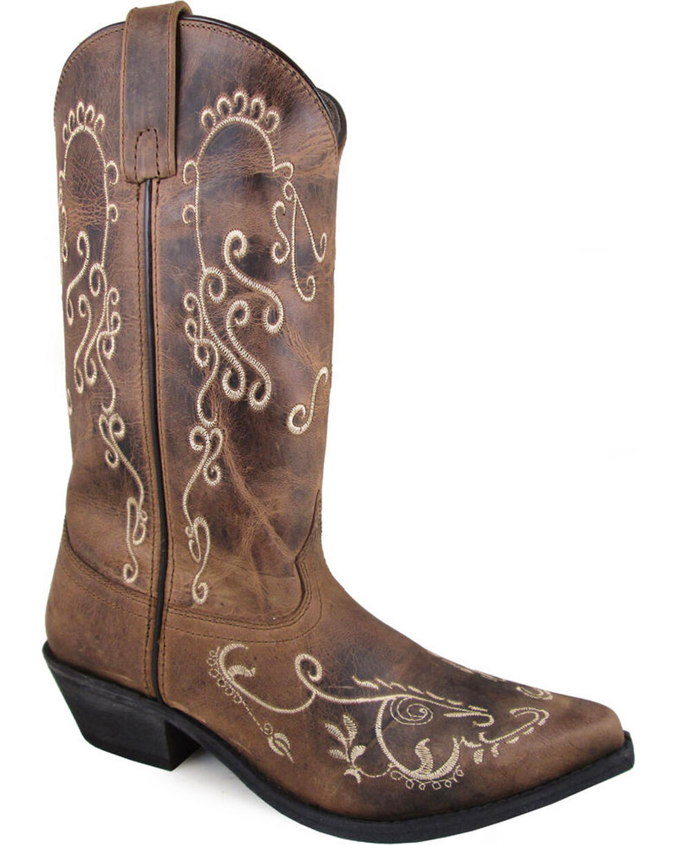 Smoky Mountain Women's Brown Jolene Embroidered Boots - Snip Toe , , hi-res