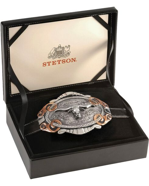 Stetson Two-Tone Longhorn Buckle, Silver, hi-res