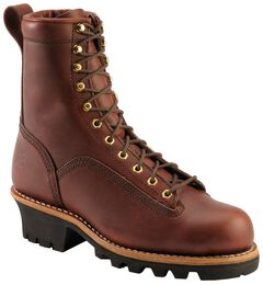 "Chippewa Oiled Redwood 8"" Logger Boots - Round Toe, Redwood, hi-res"